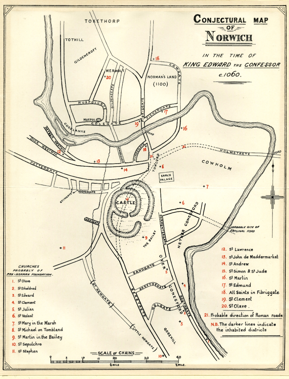 1895 Conjectural Map of Norwich in the Time of King Edward the Confessor c.jpg
