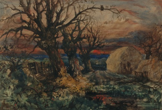 Landscape-with-Sun-Set-Haystacks-and-Owl-Watercolour-36x52cm.jpg
